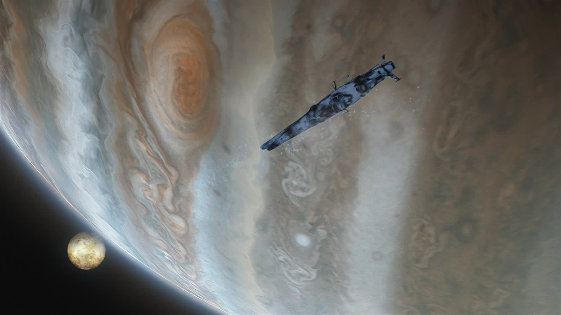Jupiter and Io. Click to open an enlargement in a new tab/window